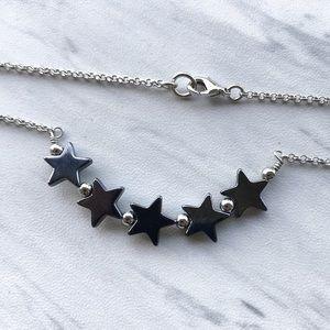 Boho Genuine hematite star bar choker necklace